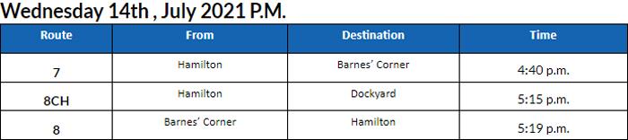 Bus Cancellations PM Bermuda July 14 2021