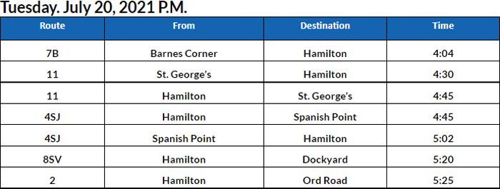 Bus Cancellations PM Bermuda July 20 2021
