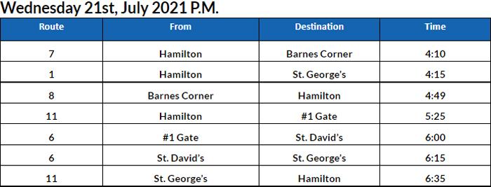 Bus Cancellations PM Bermuda July 21 2021