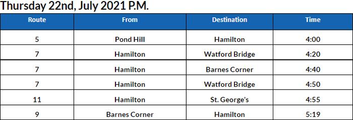 Bus Cancellations PM Bermuda July 22 2021