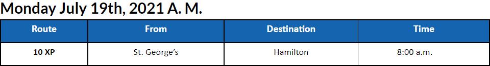 Bus cancellations AM Bermuda July 19 2021