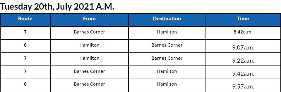 Bus cancellations AM Bermuda July 20 2021