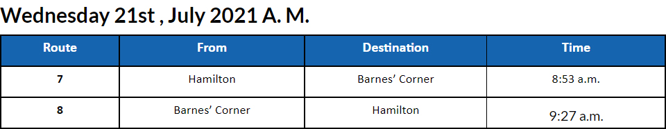 Bus cancellations AM Bermuda July 21 2021