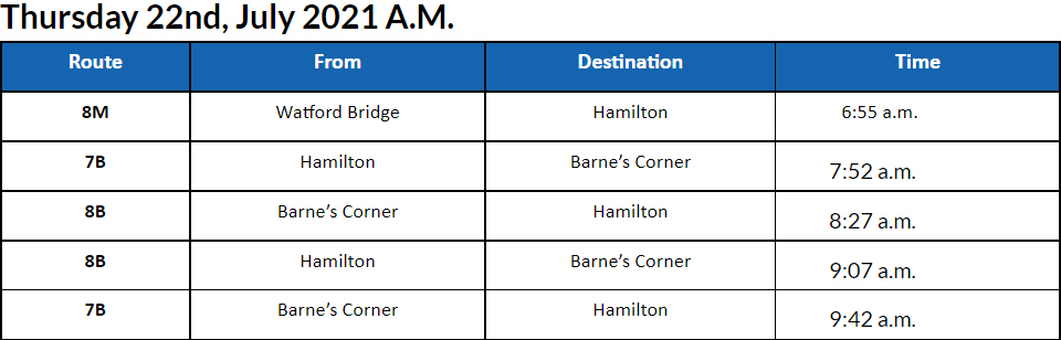 Bus cancellations AM Bermuda July 22 2021