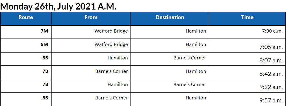 Bus cancellations AM Bermuda July 26 2021