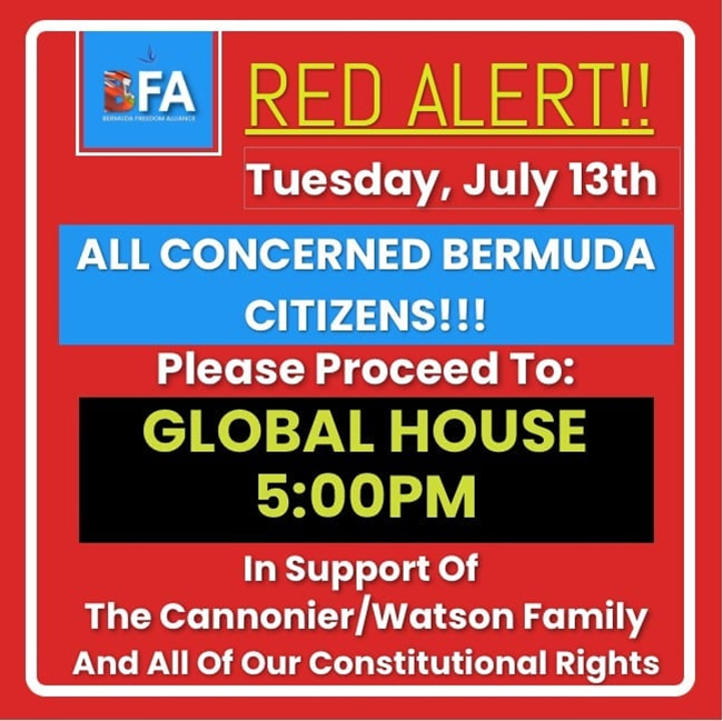 Call To Support Cannonier Watson Family Bermuda July 2021 2