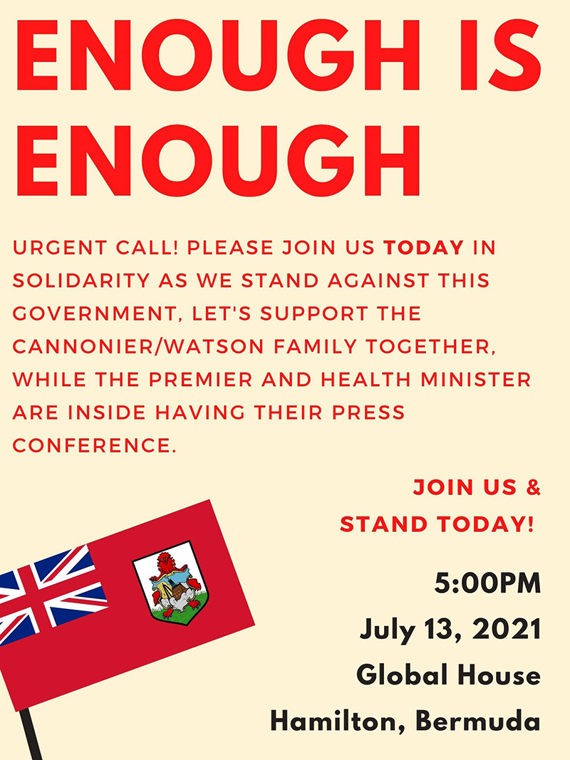 Call To Support Cannonier Watson Family Bermuda July 2021