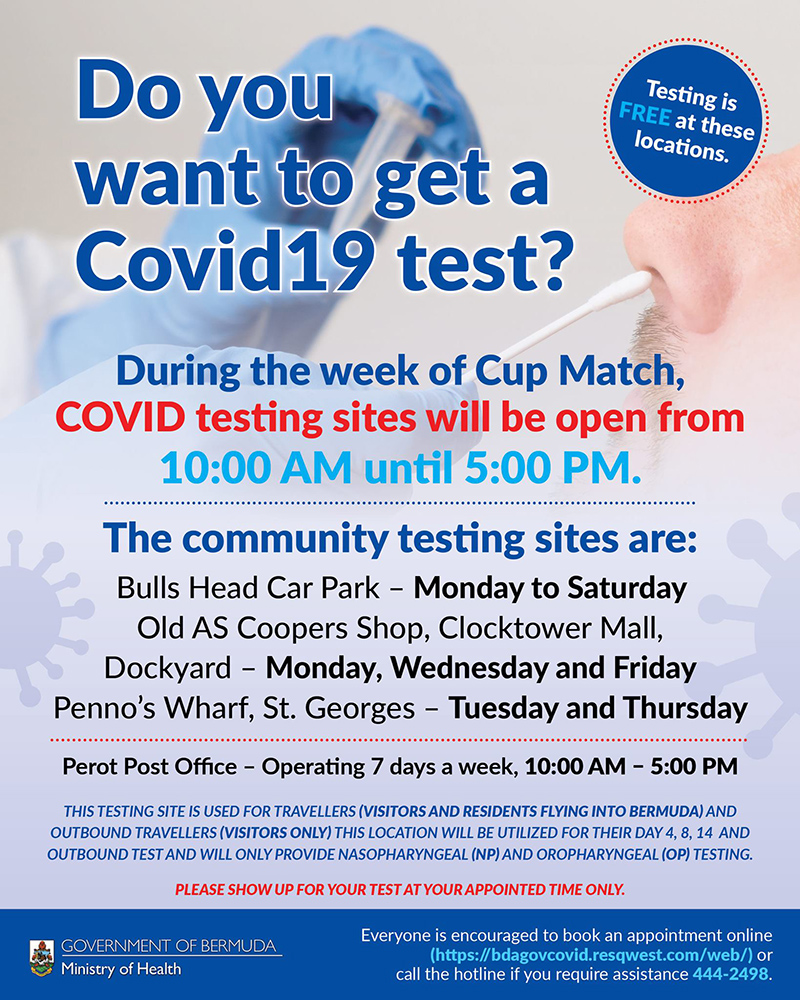 Covid Test Sites Bermuda July 2021