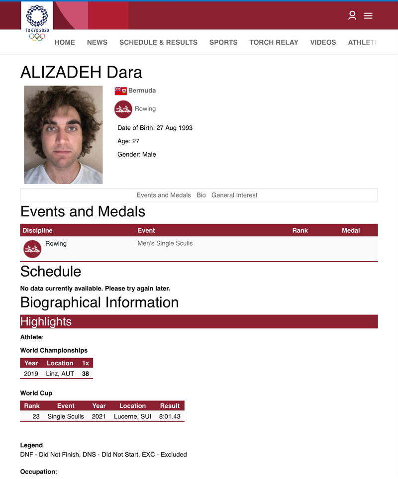 Dara Alizadeh Tokyo Olympics Bermuda July 2021