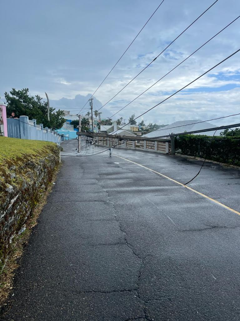 Downed BELCO Pole In North Shore Pembroke Bermuda July 2021 1