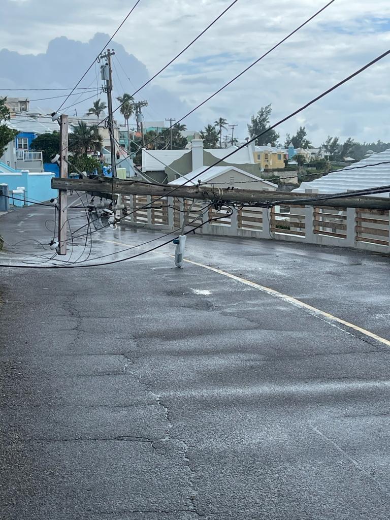 Downed BELCO Pole In North Shore Pembroke Bermuda July 2021 2