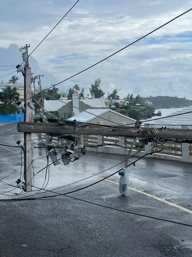 Downed BELCO Pole In North Shore Pembroke Bermuda July 2021 3