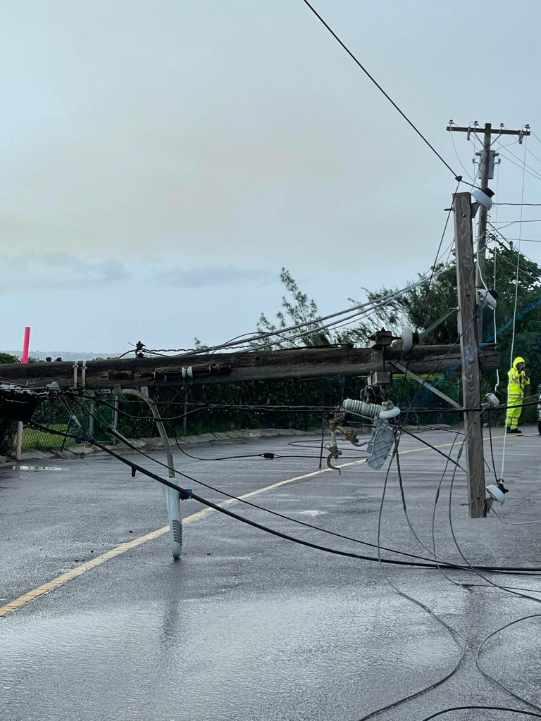 Downed BELCO Pole In North Shore Pembroke Bermuda July 2021 6