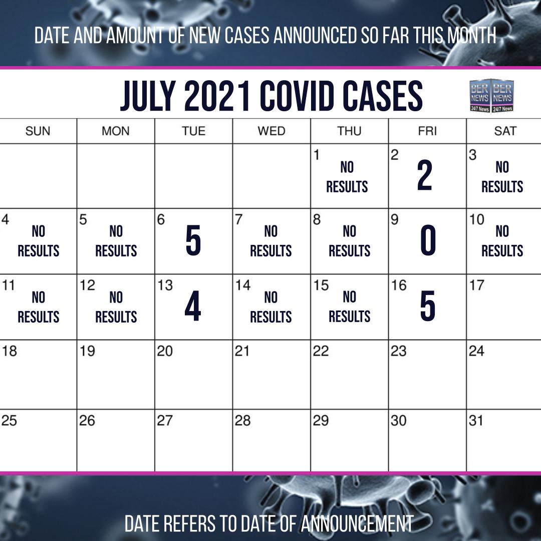 July 16 2021 Covid cases calendar Bermuda by Bernews