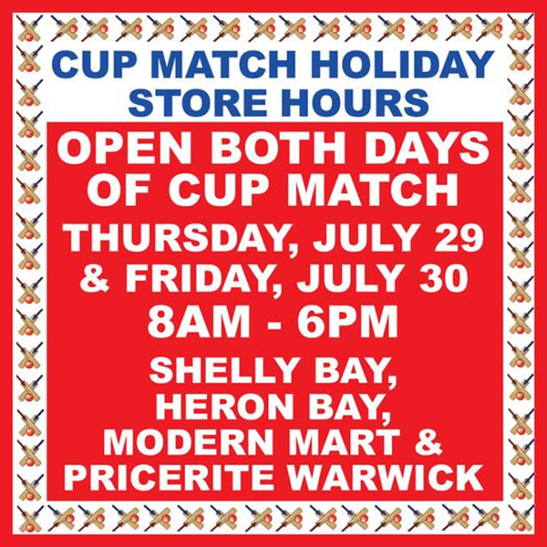 MarketPlace Cup Match Holiday Store Hours Bermuda July 2021