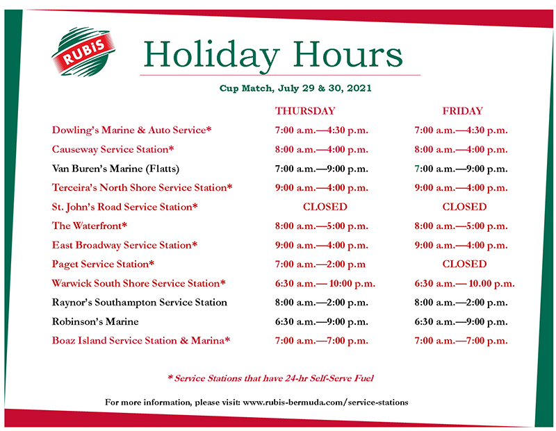 RUBiS Cup Match Holiday Opening Hours Bermuda July 2021