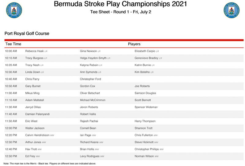 Round 1 Tee Sheet Bermuda July 2021