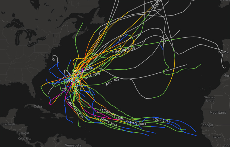Tropical Storms and Hurricanes Map From NOAA Bermuda July 2021