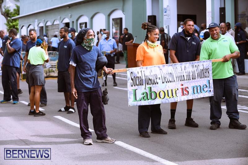 BIU Bermuda protest march August 31 2021 Bernews AW (22)