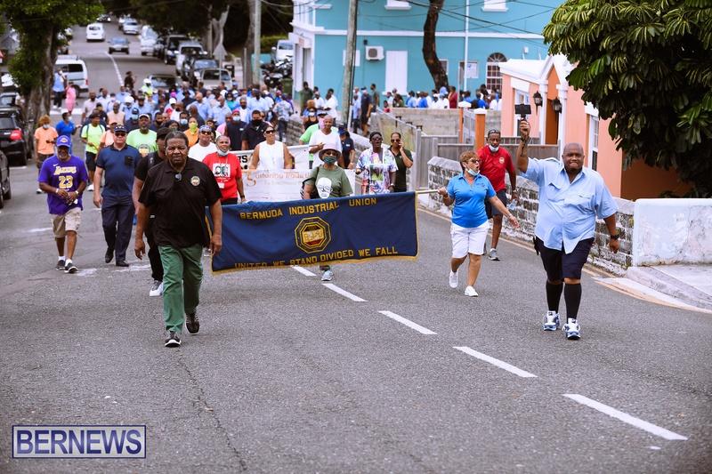 BIU Bermuda protest march August 31 2021 Bernews AW (23)