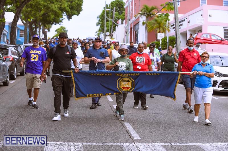 BIU Bermuda protest march August 31 2021 Bernews AW (24)