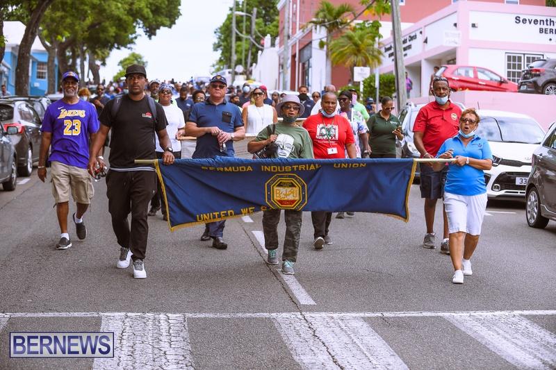 BIU Bermuda protest march August 31 2021 Bernews AW (26)