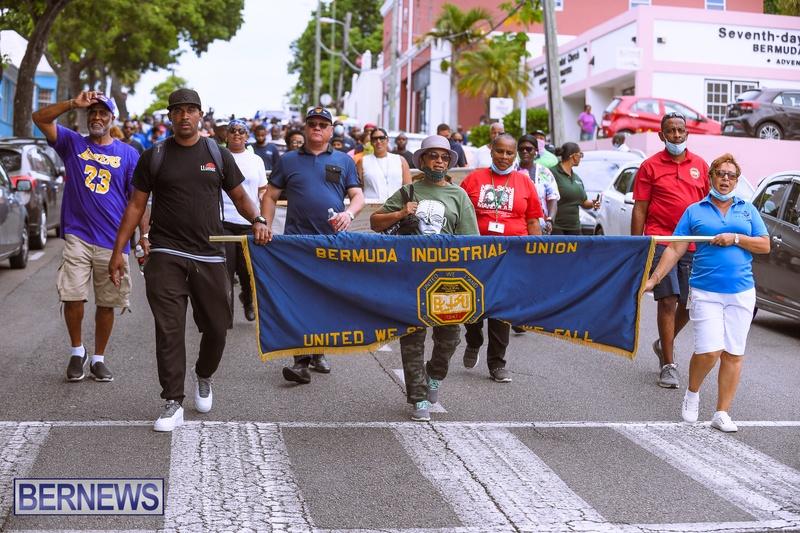 BIU Bermuda protest march August 31 2021 Bernews AW (27)