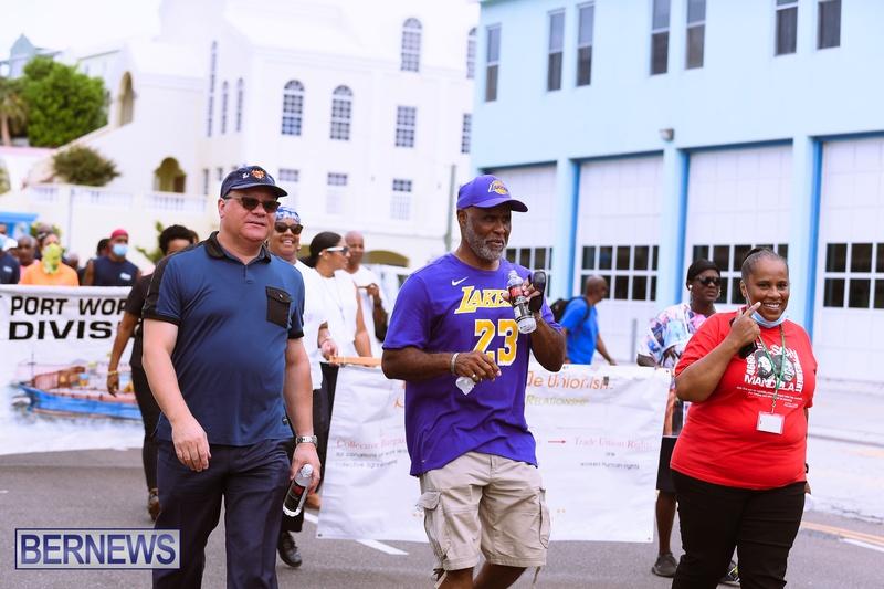 BIU Bermuda protest march August 31 2021 Bernews AW (28)