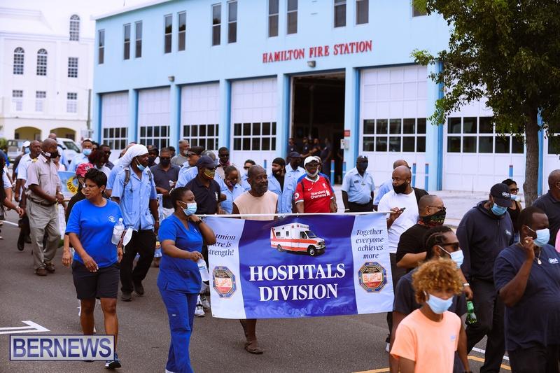 BIU Bermuda protest march August 31 2021 Bernews AW (29)