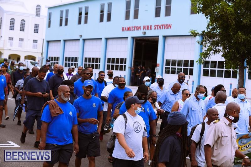 BIU Bermuda protest march August 31 2021 Bernews AW (30)