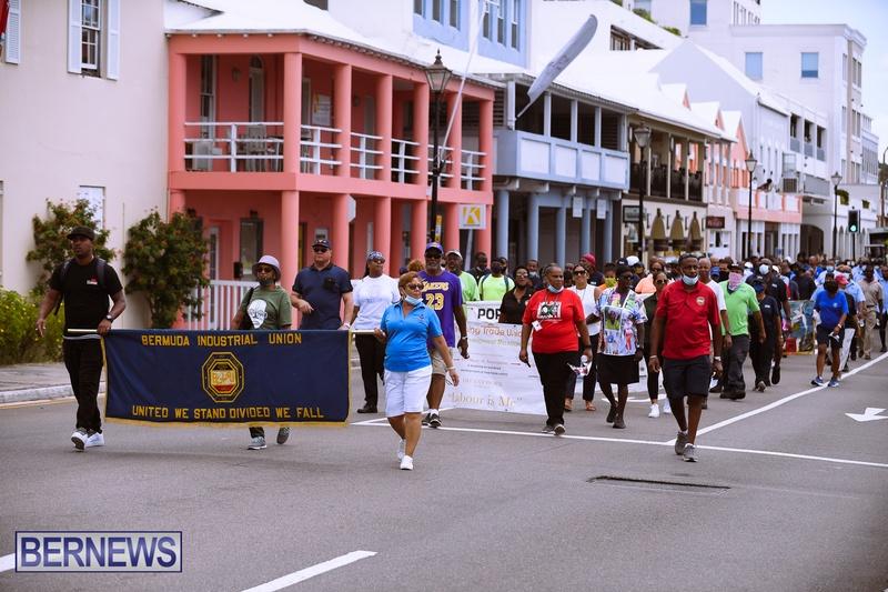 BIU Bermuda protest march August 31 2021 Bernews AW (33)