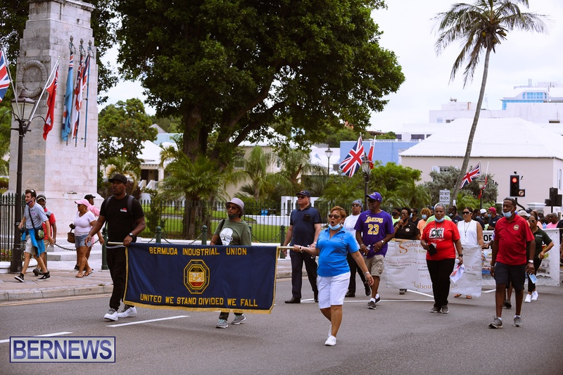 BIU Bermuda protest march August 31 2021 Bernews AW (34)