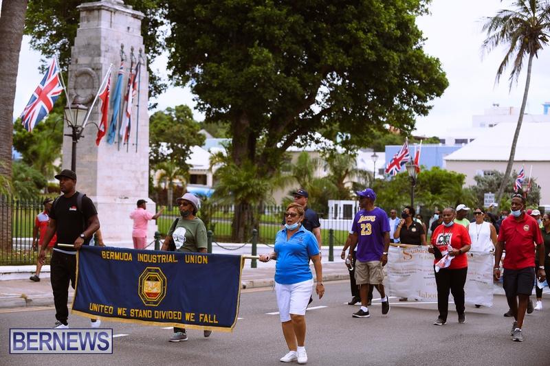 BIU Bermuda protest march August 31 2021 Bernews AW (35)