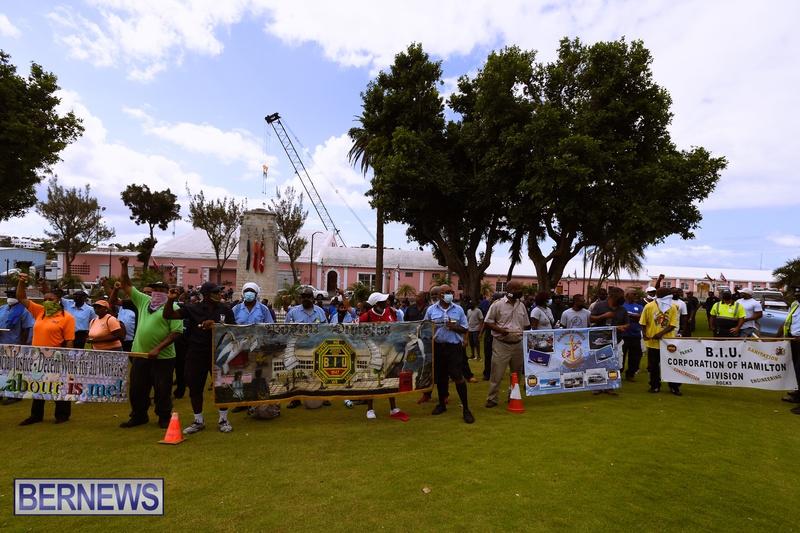 BIU Bermuda protest march August 31 2021 Bernews AW (38)