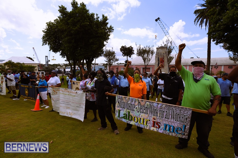 BIU Bermuda protest march August 31 2021 Bernews AW (39)