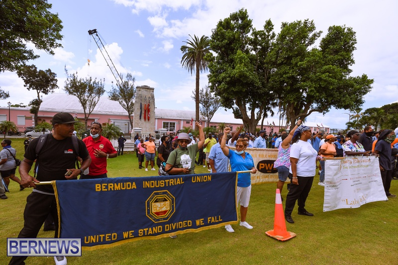 BIU Bermuda protest march August 31 2021 Bernews AW (40)