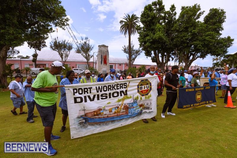 BIU Bermuda protest march August 31 2021 Bernews AW (42)