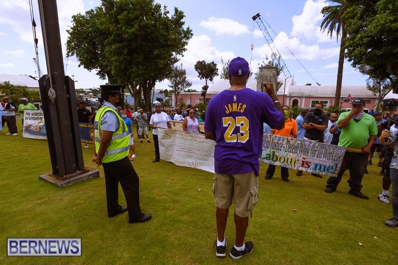 BIU Bermuda protest march August 31 2021 Bernews AW (44)