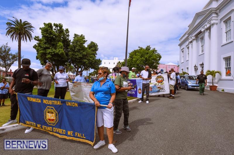 BIU Bermuda protest march August 31 2021 Bernews AW (45)