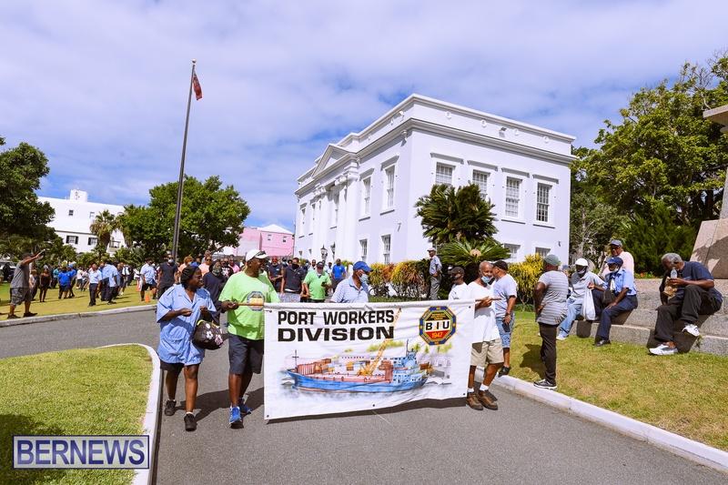 BIU Bermuda protest march August 31 2021 Bernews AW (48)