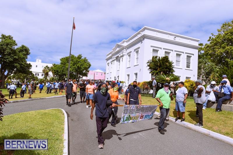 BIU Bermuda protest march August 31 2021 Bernews AW (49)
