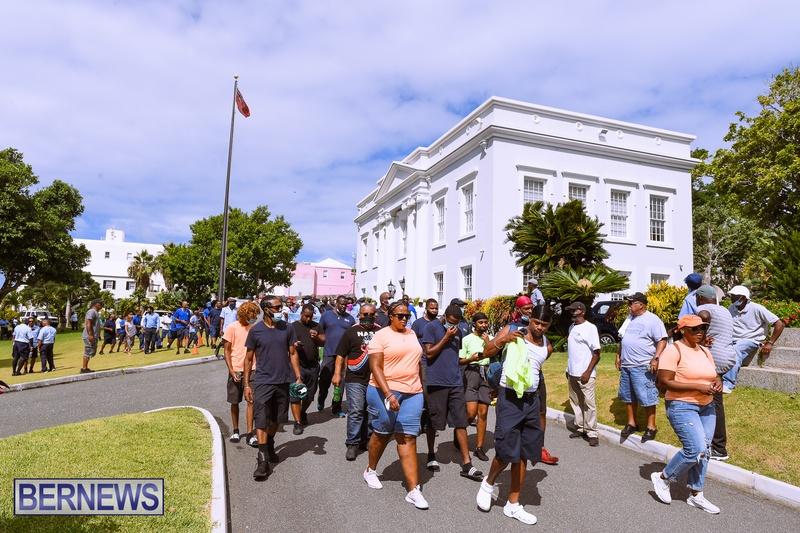 BIU Bermuda protest march August 31 2021 Bernews AW (50)
