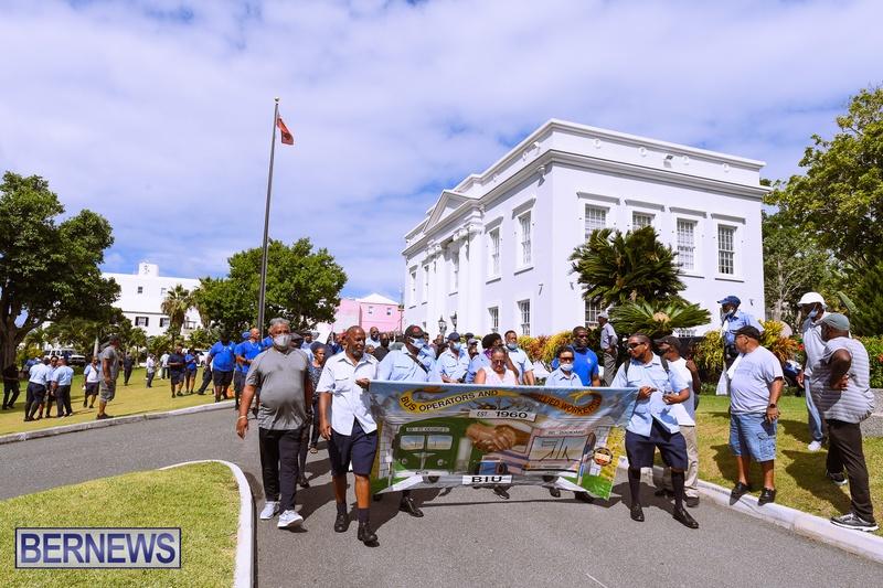 BIU Bermuda protest march August 31 2021 Bernews AW (51)