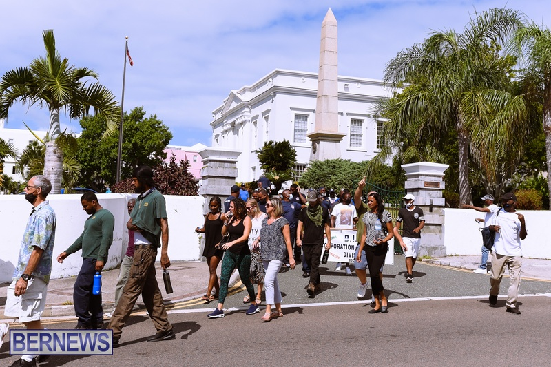 BIU Bermuda protest march August 31 2021 Bernews AW (52)