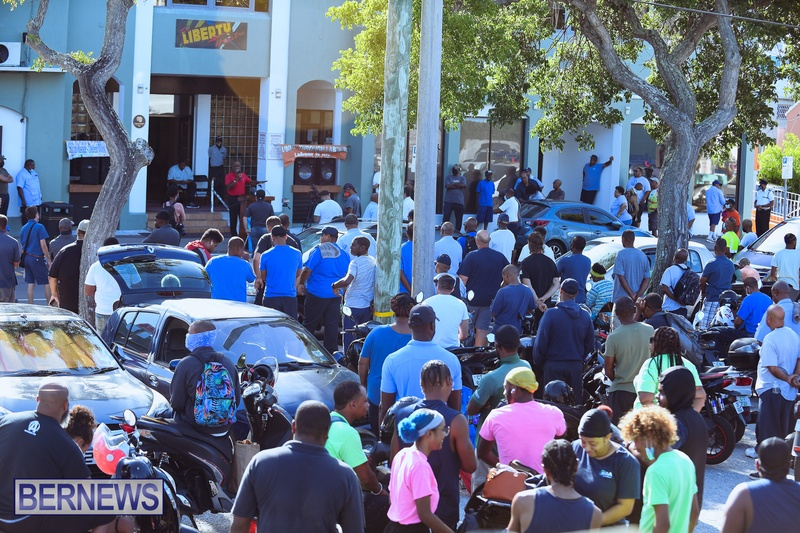 BIU Union gather and march Aug 30 2021 Bermuda Bernews AW (16)