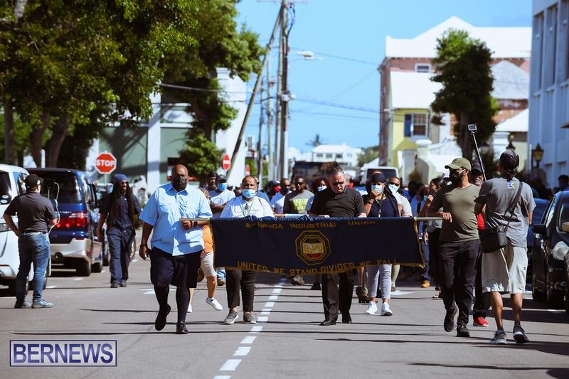 BIU Union gather and march Aug 30 2021 Bermuda Bernews AW (19)