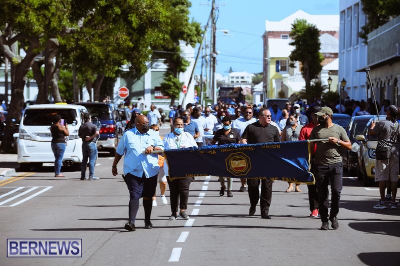 BIU Union gather and march Aug 30 2021 Bermuda Bernews AW (20)
