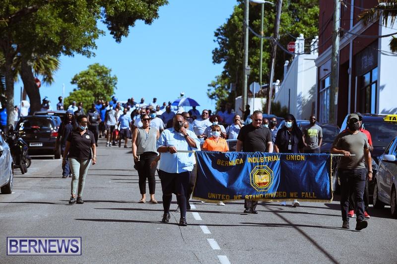 BIU Union gather and march Aug 30 2021 Bermuda Bernews AW (22)