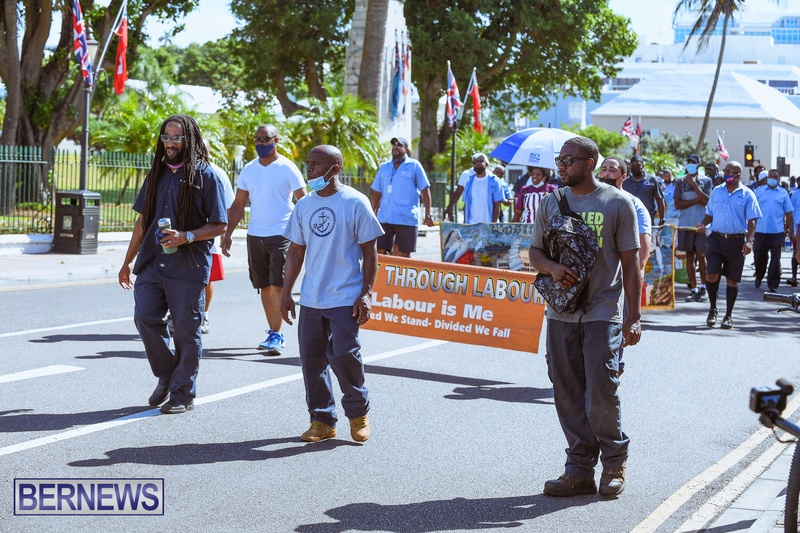 BIU Union gather and march Aug 30 2021 Bermuda Bernews AW (27)