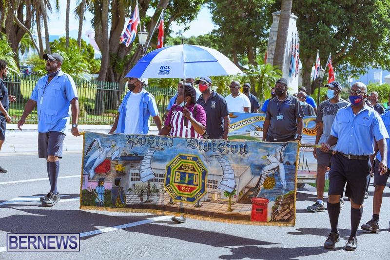 BIU Union gather and march Aug 30 2021 Bermuda Bernews AW (28)